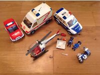 Playmobil police car, ambulance, police motorbike job lot