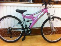 "Ladies Mountainbike - refurbished 16"" Trax: 18-speed, 26"" wheels, dual suspension"
