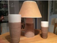 Lamp and matching large and small vases