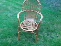 Two vintage retro bamboo wicker chairs armchairs excellent condition. One on eBay £50