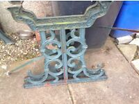 Vintage cast iron table ends with supports