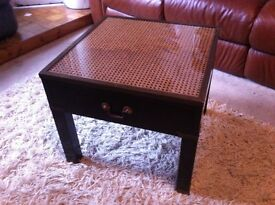 Vintage glass top square wooden table