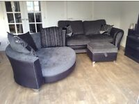 DFS Leather Fabric 3 piece Suite: 2 Seater Sofa, Cuddle Sofa & footstool *EXCELLENT CONDITION*