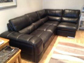 sofa corner suite in black leather - jennfer - unable to reply to your text message.