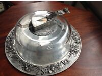 UNIQUE FRENCH PEWTER CHEESE PLATTER WITH GLASS DOME