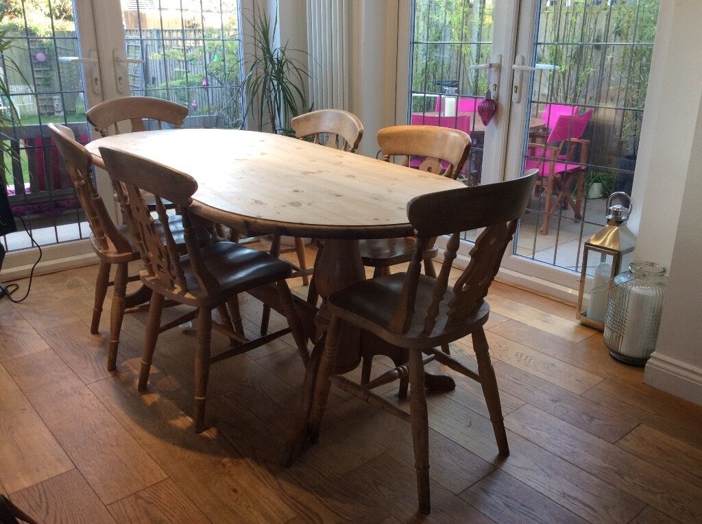 Solid Pine Wood Dining Table And 6 Chairs In Coventry