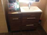 Bathroom storage cupboards x 3 that includes new style basin and tap vanity unit.