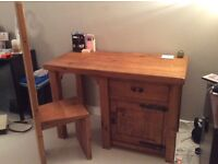 Handmade solid wood desk and chair