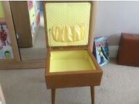 Original Sherborne Vintage/retro padded footstool/sewing box/ storage stool