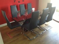 Barker and stonehouse black gloss dining table & 8 chairs