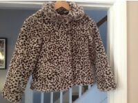M & S girl's faux fur jacket 9-10 years