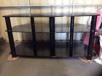 Modern Black Glass TV Stand.