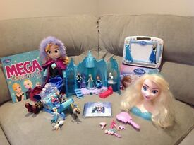 Disney Frozen Bundle - Light up Castle, Swirling Snow Sleigh, Character Set, Elsa Styling Head
