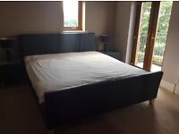 Bed, super kingsize bed plus memory foam mattress and 2 bedside tables with lamps