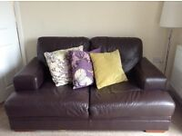 Dark Brown DFS Leather 2 Seater Sofa