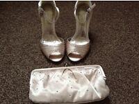Sateen Sandals size 5 plus Clutch
