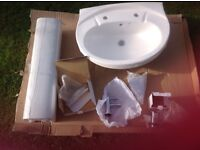 Bathroom sink,pedestal,taps and plug