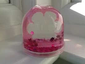 Snow Globe Photo Frame with Pink Glitter & Pink Flower Sequins