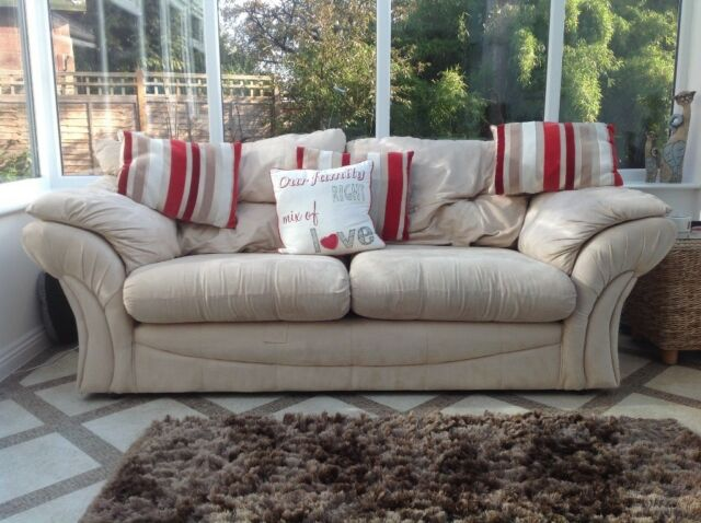 Cream 3 Seater Sofa Zip Seat And Back Cushion Covers For Easy Cleaning Very Comfortable In North Baddesley Hampshire Gumtree