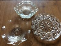 Glass jars and bowls for wedding venue