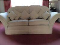 3 piece suite Delcor, cream including storage footstool