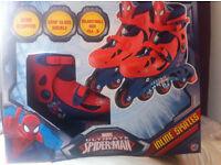 BRAND NEW MARVEL SUPER HERO SPIDERMAN BATMAN INLINE SKATES ROLLER BLADES SIZE J13 TO 3