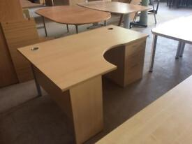 Beech Lshape desk with pedestal