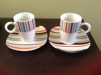 Espresso cups and saucers x2