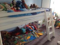 Single White Cabin Bed with Brand New Blue Tent