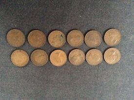 12 Half Penny Coins
