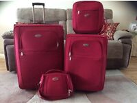 SUITCASE HAND LUGGAGE SET RED TRAVEL TIME