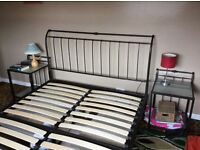 Wrought iron king size bed frame and matching side units, super condition.