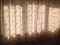 Natural lined eyelet curtains with green/beige/brown