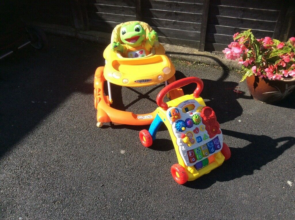Babies walker and teddy