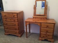 Pine Chest of Drawers, Dressing Table & Mirror