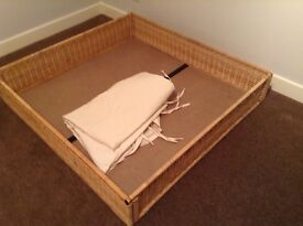 IKEA under bed wicker storage baskets with cotton liners