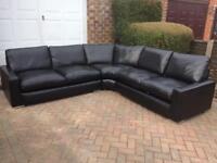 Real Italian black leather corner sofa