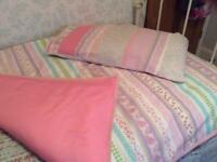 Pretty in pink - handmade quilt cover and pillowcase and duvet.