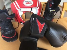 Protective head gear, gloves, shoes (size 11)
