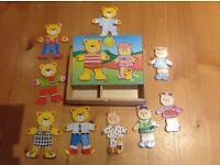 Wooden teddy dress up game