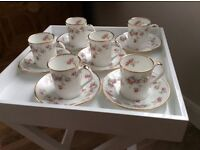 CUPS AND SAUCERS X 6 VINTAGE BONE CHINA