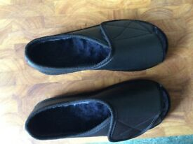 Extra wide warm lined open toe slippers/shoes