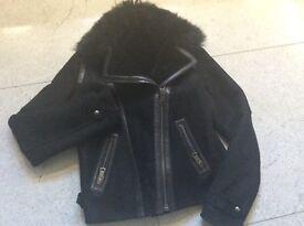 Massimo Dutti biker style leather jacket size small