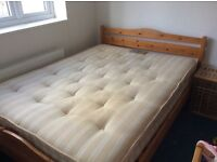 Double bed: pine frame and pocket sprung mattress