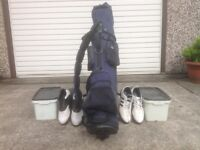 Golf club set and other equipment.