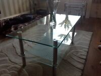 Glass coffee table plus glass to corner unit plus nest of glass tables
