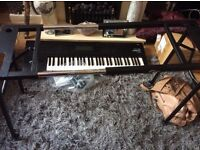 KORG 01/W Workstation Keyboard and New Adjustable stand for weighted keys