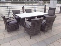 Paradise 6 Seater Rectangle Grey or Brown Rattan Garden Furniture Dining Set Brand New in Box