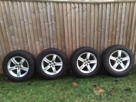 Audi wheels and winter tyres for sale . Approximately 5mm left on Dunlop winter sport tyres