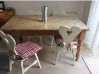 Pine Kitchen Table and 4 White Chairs